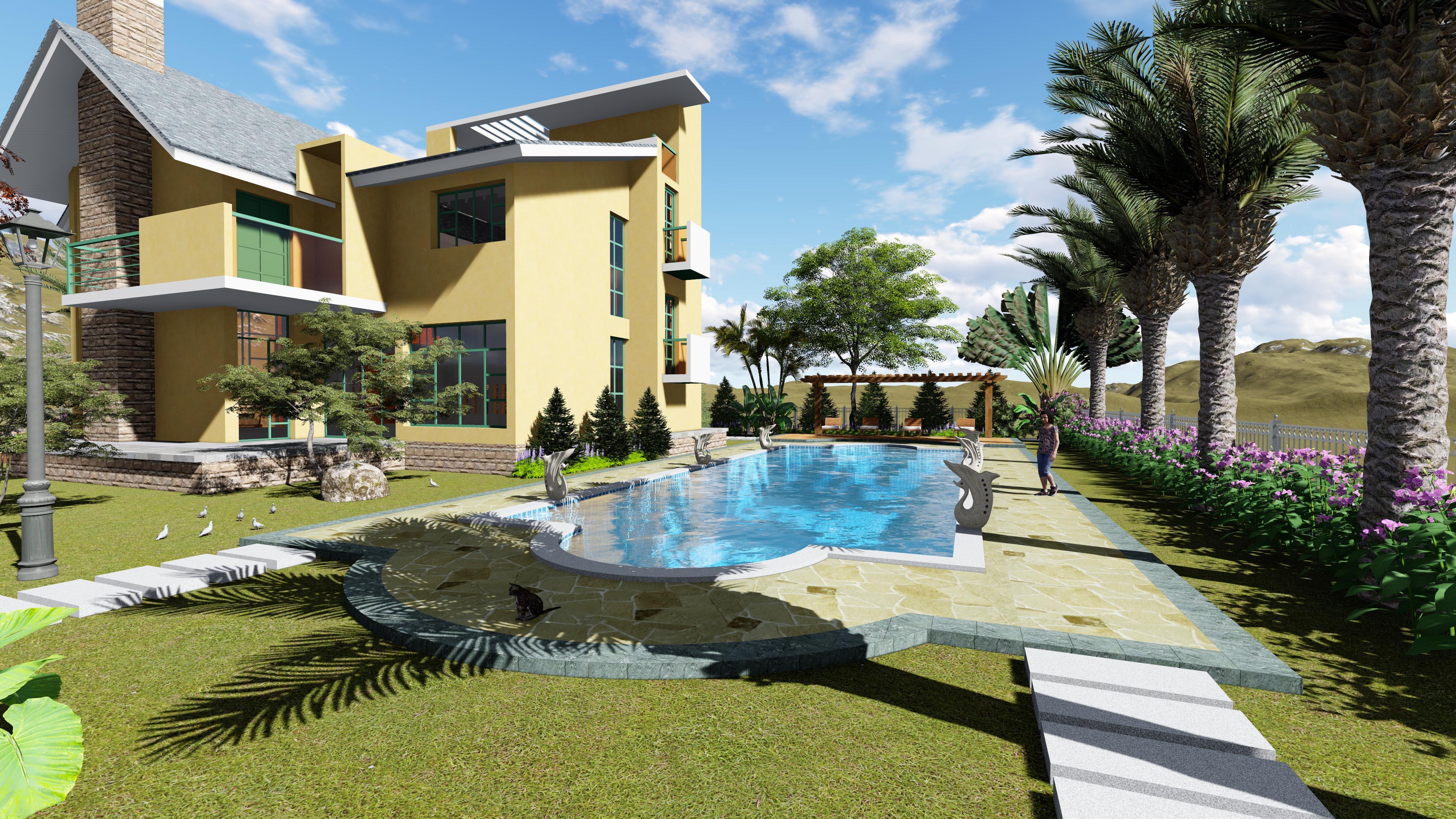 别墅花园景观设计局部效果图二图片