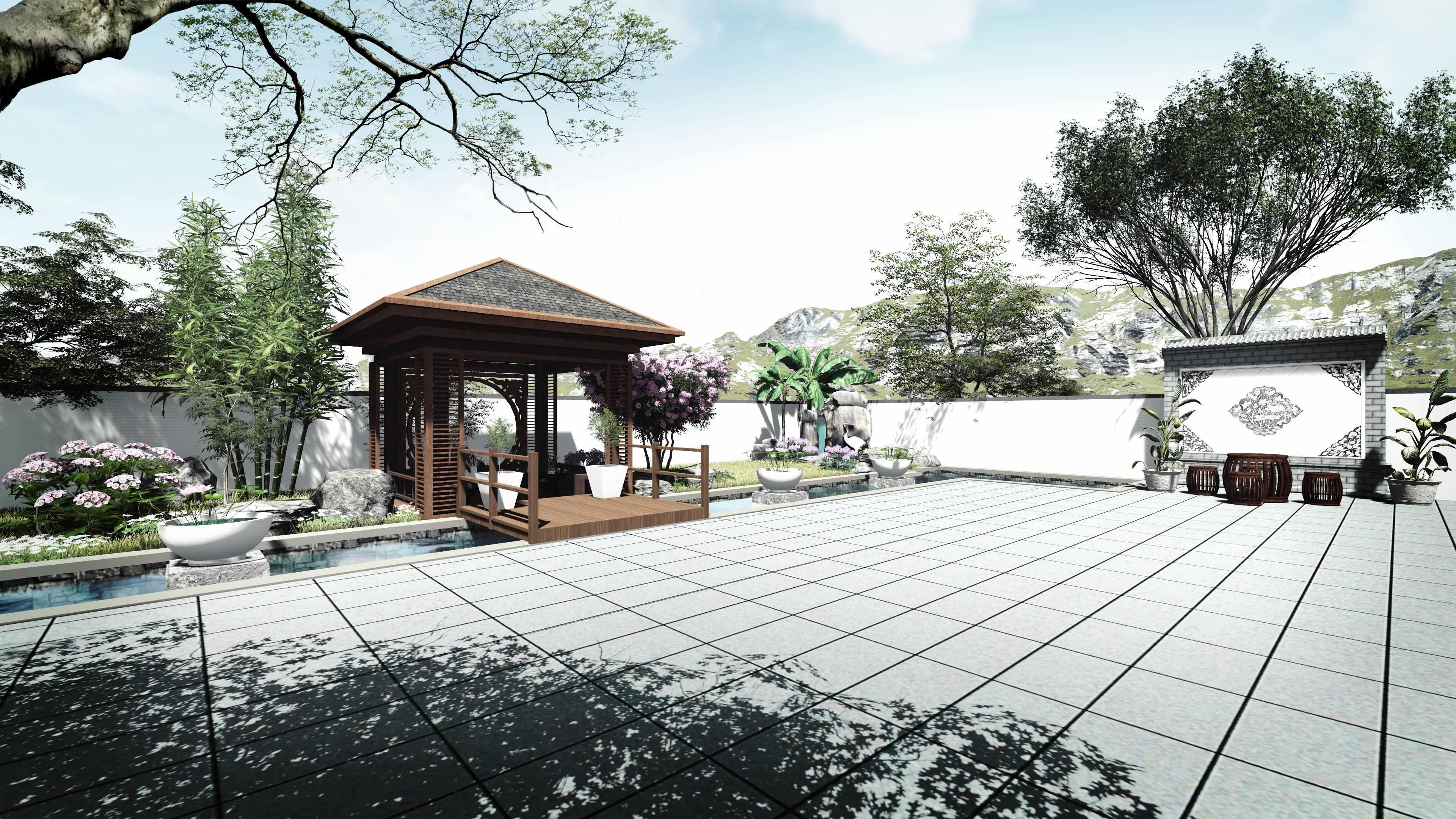 庭院花园景观升级改造设计局部效果图二